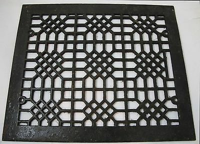 "Ornate Antique Rectangular Cast Iron 16 7/8"" x 14 1/8"" Heat Register Grate"