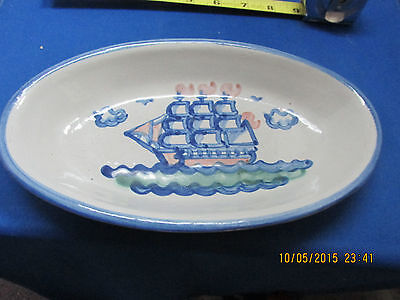 "M. A. HADLEY  Sailboat  9 1/2"" Relish Dish  Great Piece  No Reserve"