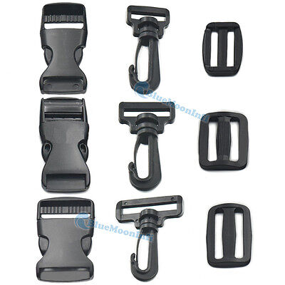 19 25 38mm Swivel Hook Adjustor Triglides Side Release Buckle Strap Webbing KL