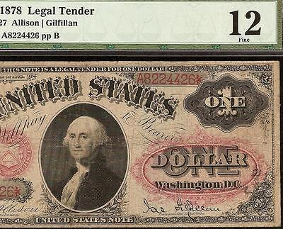 1878 $1 DOLLAR BILL UNITED STATES LEGAL TENDER ORNATE RED SEAL NOTE Fr 27 PMG
