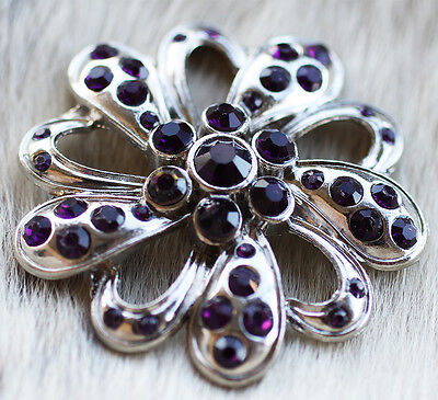 4 Conchos Rhinestone Horse Saddle Western Bridle Flower Purple Bling Co412