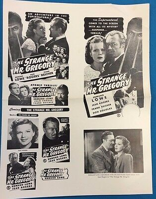 """STRANGE MR. GREGORY vintage theater owners 9-1/2"""" x 12-1/2"""" ad sheet circa 1949"""