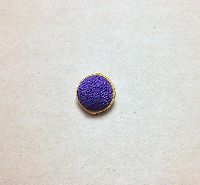 Vintage Fabric Covered Button - Purple & Yellow