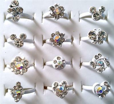 Bulk Lot x 10 Girls Rhinestone Party Rings Adjustable White Bands Mixed Colors