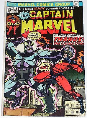Captain Marvel #33 VG to VG/F from July 1974 Origin of Thanos.