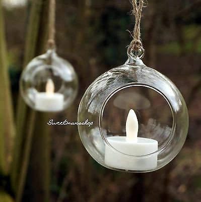 Hanging Glass Candle Tealight Holder Clear Bauble Garden Outdoor Wedding