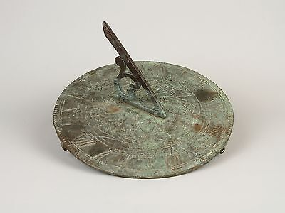 "A Vintage Bronze Sundial, Motto ""Sunny Hours""."