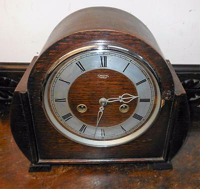 smiths enfield oak cased striking mantel clock