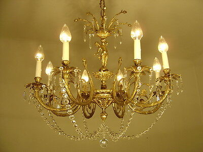 DELICATE CHERUBS FIGURES CHANDELIER GOLD BRONZE VINTAGE LAMP OLD Ancient BRASS