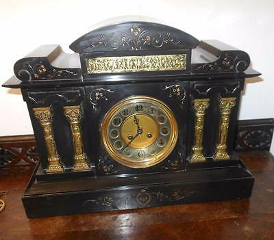 large french striking marble clock with brass mounts c1900s