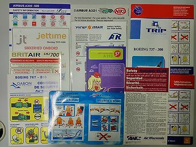 Airlines safety cards X 13