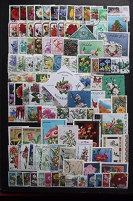 100+Flowers Stamps - All Different - Off Paper - Used # 1079