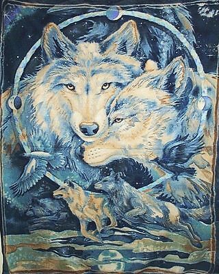 Fleece Wall Hanging Blanket Panel Throw Wall-hanging Wolves Eagle Blue NEW