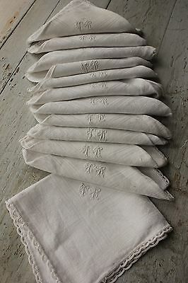 12 Antique French napkins lace border TR monogram white damask weave