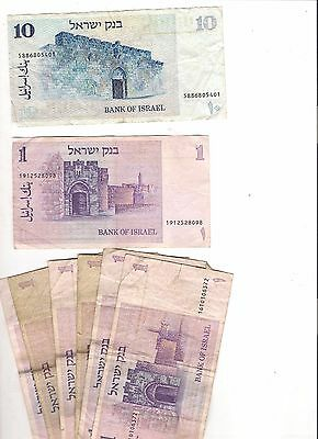 Israel Banknotes 1978 10 and seven 1 shekel notes all circulated