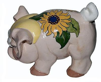 Kay Finch Grumpy Pig Sunflower Large Hand Painted Figure