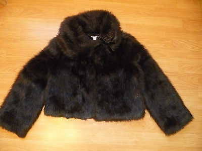 Gorgeous Girls Designer KATE MACK Faux Fur Black Jacket Flowers & Bow 12 Years