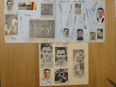 Rare England v The Dominions signed pages 12 Cricket autographs August 1944