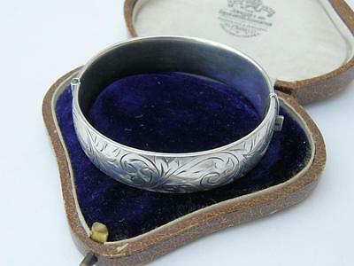 FINEST Vintage Solid ENGLISH Silver Hinged Cuff BANGLE Patented Clasp GORGEOUS