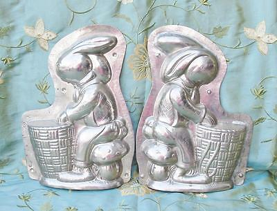 Vintage Large 13 inch Show Mold Bunny Rabbit on Mushroom with Basket Repair