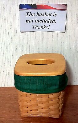 Tall Tissue Basket Liner from Longaberger Ivy Green fabric.  New & Crisp