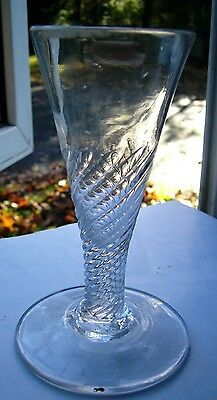 Large Georgian Ale wine glass flute wrythen twist C1790 No2
