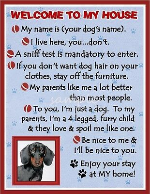 DACHSHUND Dog House Rules Refrigerator Magnet PERSONALIZED