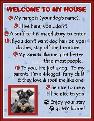 MINIATURE SCHNAUZER Dog House Rules Refrigerator Magnet PERSONALIZED