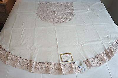Vintage Belgian Tablecloth 72 x 90 Ivory Belgium Linen Ecru Cotton Lace Trim