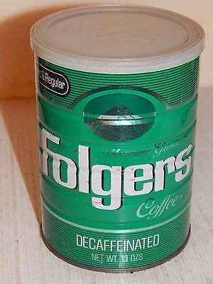 VINTAGE FOLGER'S  DECAFFEINATED Coffee Can 13 oz. with Original Cover