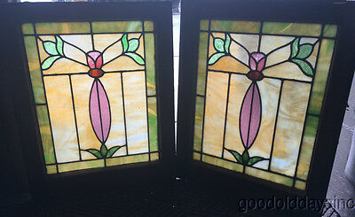 "Pair of Antique Stained Leaded Glass Windows From Chicago 25"" by 20"" Circa 1915"