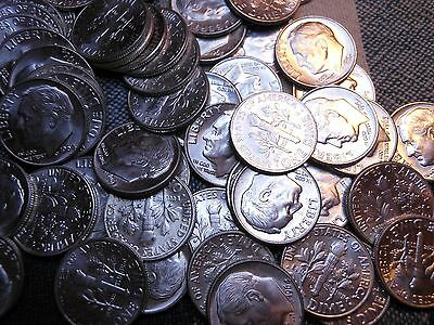 1 Roll 90% Silver Bu Roosevelt Dimes -$5 Face Value - 50 Coins