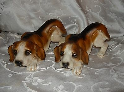 Large Beagle Resin Figurines 9in Long Set of 2 New