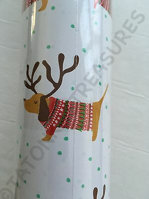 """New 30"""" x 120"""" Roll Christmas Holiday Dachshund Dogs Doxie Gift Wrapping Paper"""