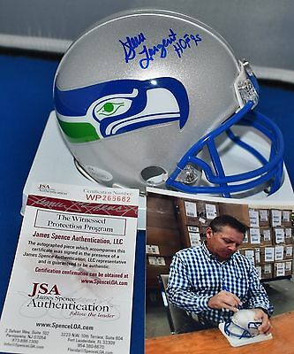 Steve Largent Autographed Throwback Mini Helmet Seattle Seahawks Hof 1995 Jsa