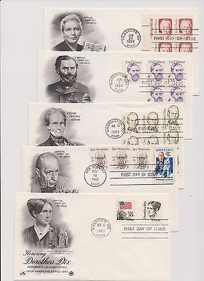 US FDC 1980-85 Great Americans 26 Covers Scott 1844-1869 Complete by Artcraft |