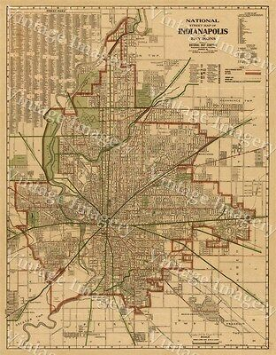 Giant Historic 1921 Old Antique Indianapolis Street Map National Map Company MAP