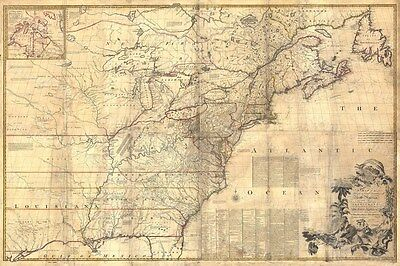 LARGE Historic 1757 wall Map of British and French New England OLD COLONIAL MAP