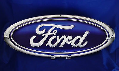 "Ford Blue 20"" Oval Logo Metal Tin Sign Car Vintage Auto Emblem Garage Man Cave"