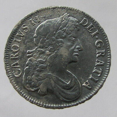 Charles II, Silver Crown, 1677, V. Nono, 3rd Bust, abt.VF