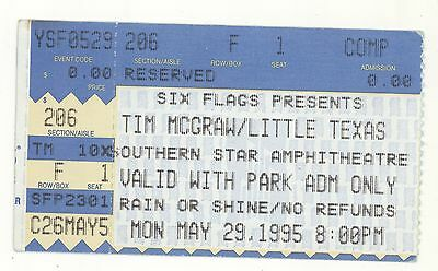 RARE Tim McGraw & Little Texas 5/29/95 Houston TX Concert Ticket Stub!