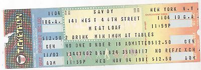 Rare MEAT LOAF 11/4/81 New York City NY The Savoy UNUSED Concert Ticket! NYC