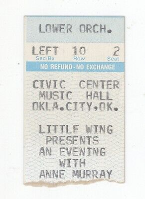 RARE Anne Murray 1980s Oklahoma City OK Concert Ticket Stub! OKC