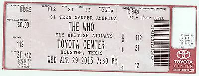RARE The Who 4/29/15 Houston TX Toyota Center Concert Ticket!