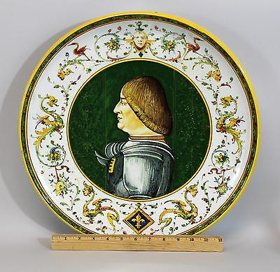 Large Antique Italian Faience Pottery Charger Platter, Knight in Armor Painting