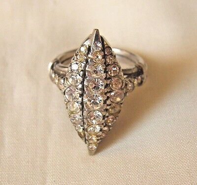 Diamante Cocktail Ring w Rhinestones set in Sterling Silver Size 5 Vintage