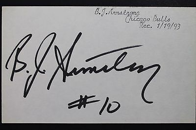 BJ Armstrong Chicago Bulls Iowa NBA Autographed Signed 3x5 Index Card 16L