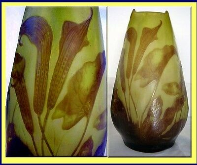 Emile Galle Cameo Glass Vase Calla Lily Superb Antique French Art Glass (#3294)
