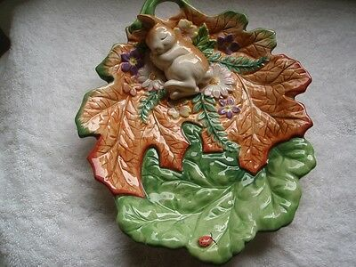 Fitz And Floyd Classics Bunny Rabbit Leaf Plate Flowers & Ladybug