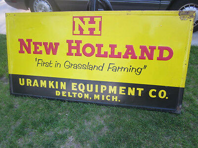 Vintage New Holland metal dealer sign rare!! 6'x3'